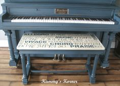Love this subway art piano bench from Kammy's Korner: My Painted Piano With Subway Art Bench