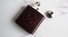 Personalised Leather Hip Flask, minimalist wedding styling