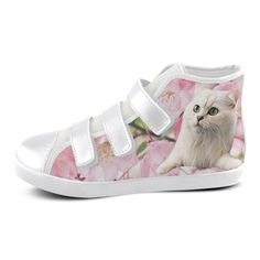 Cat and Flowers Velcro High Top Canvas Kid's Shoes. FREE Shipping. #artsadd #sneakers #cats