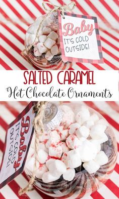 Salted Caramel Hot Chocolate Ornaments are the perfect Christmas gift idea! Full tutorial plus the free printable gift tags! Cute Christmas Gifts, Holiday Fun, Christmas Ideas, Winter Holiday, White Christmas, Holiday Ideas, Toddler Christmas, Winter Ideas, Handmade Christmas