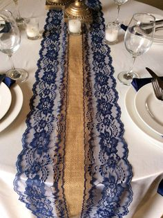 6ft Burlap & Navy Lace Table Runner 10in by LovelyLaceDesigns