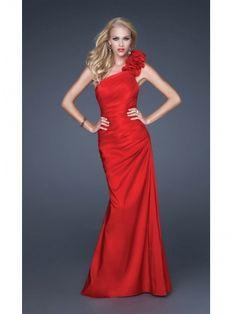 Buy Beautiful Red Sheath/Column One-Shoulder Beaded Floor Length Taffeta Bridesmaid Dress under 200-SinoAnt.com