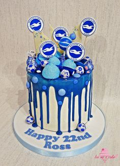 Brighton & Hove football drip cake Dad Birthday Cakes, 18th Birthday Party, Birthday Ideas, Football Cakes, Dad Cake, Fun Cakes, Drip Cakes, Cakes For Boys, Descendants