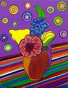 "Mexican Folk Art- VASE OF FLOWERS - PRINT By Artist A.V.Apostle- 8""x10"""