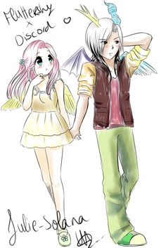 fluttershy x discord - personally, I love the friendship between them, but I don't ship them :'3