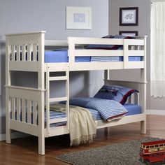 Simple White Small Bunk Bed For Kids