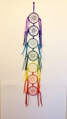 Made on 7 3 inch hoops. 31 inches from top to bottom. Dream Catcher Patterns, Dream Catcher Mandala, Dream Catcher Decor, Crochet Dreamcatcher, Crochet Mandala, Indian Arts And Crafts, Diy And Crafts, Diy Dream Catcher Tutorial, Bohemian Crafts