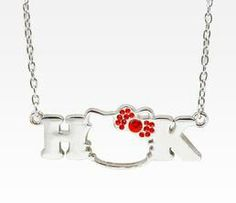 Hello Kitty face & initial necklace