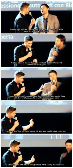 """[gifset] """"See this is why we're in television. """" #Jensen #Misha #JibCon14"""
