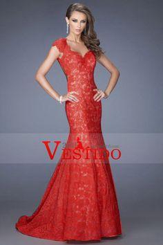 2014 vestidos formales de la sirena larga Negro y rojo de encaje con espalda abierta