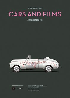 Poster of Grease car. Illustration by Jesús Prudencio. Cars And Films Minimal Movie Posters, Cinema Posters, Car Posters, Classic Motors, Classic Cars, Grease Movie, Grease 1978, Film Home, Us Cars