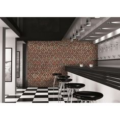 Rustic red brick wall mural from 1Wall