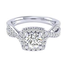 1.28cttw Cushion Shaped Halo Diamond Engagement Ring with Twisted Shank from Mullen Jewelers