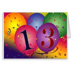 De Decoratie van de ballon voor 13de verjaardag Wenskaart