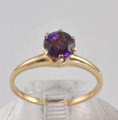 Antique Engagement Ring - 14K Gold and Purple Amethyst Solitaire Ring... beyond perfect.
