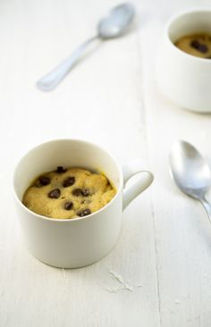 Peanut Butter and Chocolate Chip Cookie in a Mug. This dessert takes less than 5 minutes to make and can be cooked in the microwave not the oven. www.chefsavvy.com #dessert #recipe #cookie #delicious #recipe #cake #desserts #dessertrecipes #yummy #delicious #food #sweet