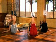 Carmen Electra and trainer. Such a good workout, but this video is not in English. Throw on some music instead!