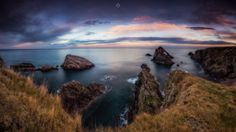 Taking it all in - Sunset over the coastline of Portknockie on the Moray Firth in Scotland. A five image, long exposure, panorama.