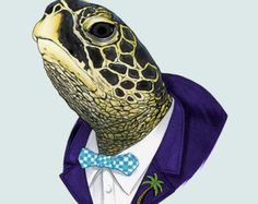 Sea Turtle art print - Animal art - Nursery art - Nursery decor - Animals in Clothes - Children's art - Ryan Berkley Illustration Animal Sketches, Animal Drawings, Sea Turtle Art, Animal Art Prints, Illustration Art, Illustrations, Unicorn Art, Tier Fotos, Arte Pop