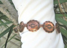 Vintage copper bracelet southwestern style concho links #Copper