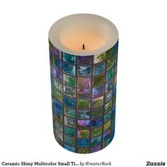 Ceramic Shiny Multicolor Small Tiles Led Candle