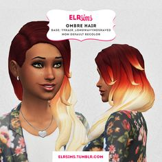 sims+4+custom+hair | OMBRE HAIR - Non-default recolor | inspired by Le Happy