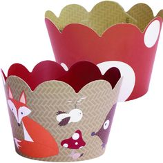 Amazon.com: Woodland Animal Cupcake Wrappers, Red and White Polka Dot, Camping Theme, Confetti Couture Party Supplies, 36 wrappers: Kitchen & Dining