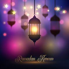 Ramadan Kareem background with hanging lanterns Free Vector Happy Ramadan In Arabic, Happy Eid, Ramadan Wishes, Adobe Illustrator, Shadow Light Box, Islamic Wallpaper Hd, Hd Wallpaper, Mubarak Ramadan, Jumma Mubarak