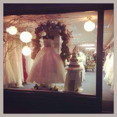 Couture & Tiaras bridal shop christmas window display