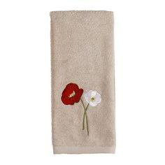 Saturday Knight, Ltd. Poppy Field Hand Towel, Beig/Green (Beig/Khaki)