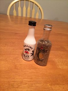 Salt & Pepper Shakers. Perfect idea for a college apartment! Poke holes with sewing needles