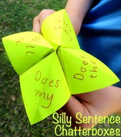 Silly Sentences Chatterboxes for Beginning Readers ~ What a great idea for writing, too! Early Literacy, Kindergarten Activities, Writing Activities, Craft Activities, Activity Ideas, Preschool, Sight Word Games, Sight Word Activities, Sight Words