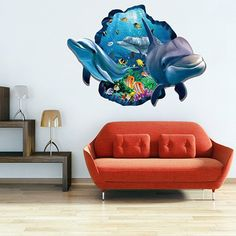 Active Removable 3D Cartoon Dolphin Ocean Wall Art Sticker - COLORMIX