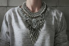Harlem  Handcrafted Statement Necklace: Silver and by Lacersuite