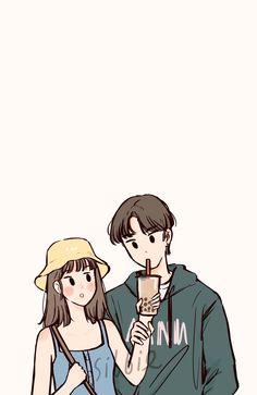 Cute Couple Wallpaper, Cute Pastel Wallpaper, Cute Wallpaper Backgrounds, Cute Cartoon Wallpapers, Cute Couple Drawings, Cute Couple Art, Cute Drawings, Cute Illustration, Character Illustration