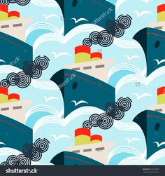 Seamless vintage art deco vector pattern. Summer travel cruise ships.