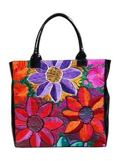 Floral embroidered Paula handbag with large bright flowers
