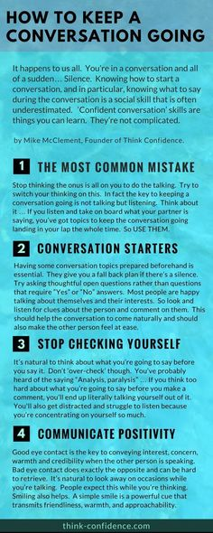 Medical infographic Fantastic tips on how to avoid awkward silences and keep a conversation going na… Infographic Description Fantastic tips on how to avoid awkward silences and keep a conversation going naturally. Conversation Starter Questions, Conversation Topics, Random Conversation Starters, Effective Communication, Communication Skills, Life Skills, Life Lessons, 5am Club, Coaching