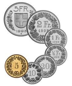 Coins of the Swiss Franc. The CHF 5 coin uses a Swiss Deco font for its text, but the smaller coins all have quite a distinctive (old-feeling and lovely) Didone Modern. Lucerne, Lausanne, Swiss Alps, Zurich, Basel, Zermatt, Swiss Switzerland, Vevey, Foreign Coins