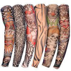 6 PCS Nouveau Nylon Élastique Faux Tatouage Temporaire Manches Conceptions corps de Bas de Bras Tatoo pour Cool Hommes Femmes Livraison gratuite D01040