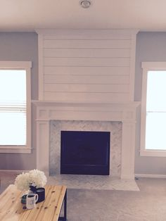 4 Amazing Useful Tips: Fireplace Cover Pools large fireplace big windows.Shiplap Fireplace With Wood Mantle tv over fireplace components.Shiplap Fireplace With Wood Mantle. Fireplace Redo, Shiplap Fireplace, Farmhouse Fireplace, Fireplace Remodel, Fireplace Design, Fireplace Ideas, Modern Fireplaces, Black Fireplace, Simple Fireplace