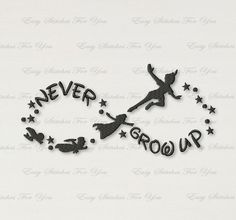 BOGO FREE! Peter Pan Machine Embroidery Design, Embroidery designs for babies, Never Grow Up, Digital instant download file, 4 sizes, A043