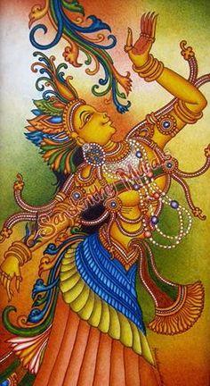 Kerala Mural Painting, Indian Art Paintings, Madhubani Art, Madhubani Painting, Shiva Art, Hindu Art, Mural Art, Murals, Quilled Paper Art
