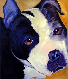 © Cyrus Mejia | pit bull portrait in oil, Pits And Perception, dog art