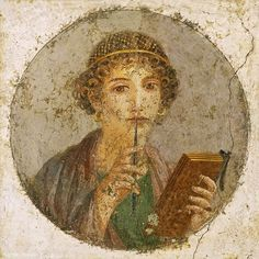 Fresco showing a woman so-called Sappho holding writing implements (wax tablet and stylus), from Pompeii, Naples National Archaeological Museum Fine Art Prints, Framed Prints, Canvas Prints, Wax Tablet, Pompeii And Herculaneum, Pompeii Italy, Pompeii Ruins, Roman Art, Portraits