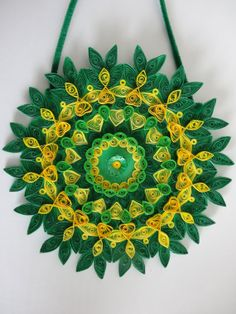 Green glittered Floral Paper Quilled Wall by IvyArtWorks on Etsy, $32.00
