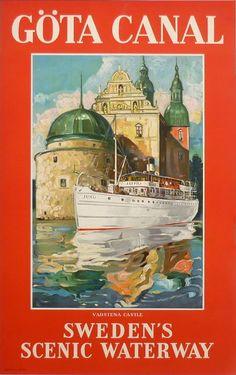 Gota Canal Sweden Vintage Art Deco Travel Poster A 2 a 3 a 4 Sizes