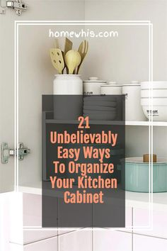 Low on kitchen cabinets storage space? Have trouble finding what you need? Here are 21 organization ideas that'll keep your cabinet clutter free and looking organized. If you love to cook, then you'll surely find these tips useful.Start organizing your upper and lower cabinets now with these 15 organization ideas! #homewhis #cabinetorganization #homeorganization #pantryorganization #spiceorganization #declutter Small Kitchen Organization, Kitchen Cabinet Storage, Low Cabinet, Kitchen Cabinet Organization, Closet Organization, Organization Ideas, Storage Ideas, Storage Spaces, Organizing