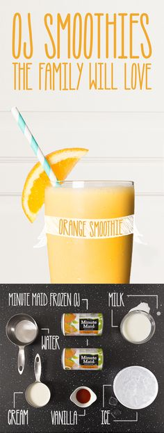 Orange Smoothie | Looking for a delicious drink recipe for any time of year? Try this tasty, fresh fruit smoothie made with Minute Maid Orange Juice! The DIY recipe is easy to follow, the ingredients are simple, and the final product is yummy. Try making it at home with the kids!