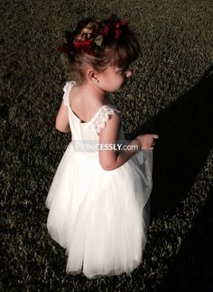"""""""Ivory Lace Cap Sleeves Tulle Flower Girl Dress with ivory sash"""" ---- Princessly.com Customer Photos"""